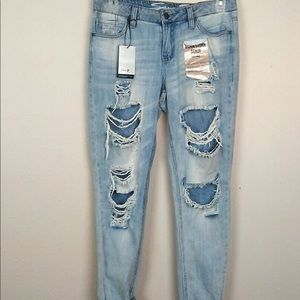 Worn and Torn Girlfriend Jeans light